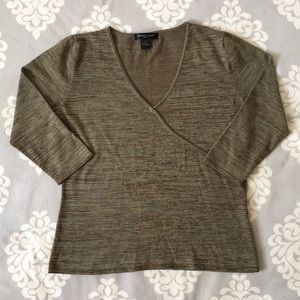 August Silk - Army Green & Brown Blouse